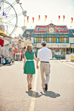 Vintage Inspired Small Town Pop Up Carnival Summer Engagement Session Themed Engagement Photos, Engagement Pictures, Engagement Shoots, Vintage Engagement Photos, Carnival Wedding, Vintage Carnival, Vintage Circus, Couple Photography, Engagement Photography