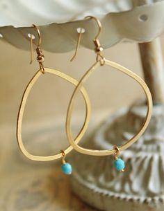 Gold Hoop Earrings. Oval Style. Aqua Beads. by JennyMoralesJewelry