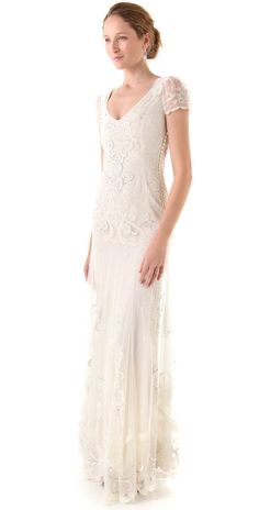 """""""This Temperley gown is so dreamy — I love the intricate beading and appliques, and it's a great gown for the vintage-loving bride."""" — Brittney Stephens, assistant editor Temperley London Long Elisha Bridal Dress ($5,760)"""