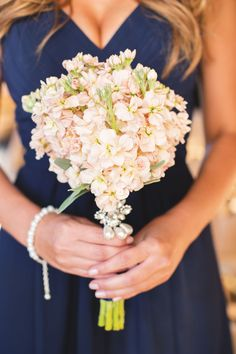 Bouquets Pink Bridesmaid Bouquet light pink simple romantic Vintage navy dress pearls