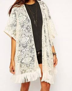 Gillberry Women Lace Hollow Floral Tassel Kimono Shawl Cardigan Blouse Coat Tops