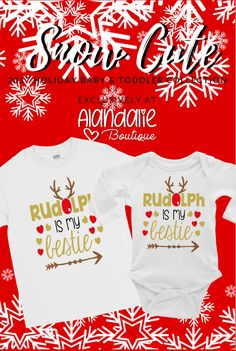"This bodysuit is part of our EXCLUSIVE ""Snow Cute"" Baby & Toddler 2017 Holiday Collection! ""Snow Cute"" is a handmade original line from Alandalie Boutique! Boy Onesie, Onesies, Cute Babies, Toddler Girl, Bodysuit, Snow, Boutique, Holiday, Kids"