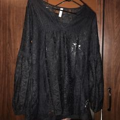 Black lace top 3/4 sleeve, black lace, only worn once. It's will easily fit a Medium. Very flowy!!! Xhilaration Tops Blouses