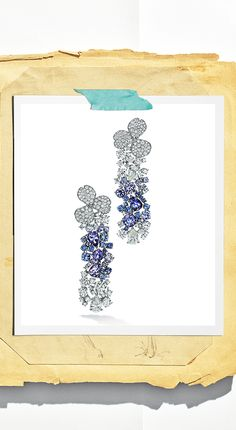 Tiffany OFF! Sapphires tanzanites and diamonds shine in new Tiffany Paper Flowers™ earrings. Tiffany Earrings, Tiffany Jewelry, Cluster Earrings, Drop Necklace, Tiffany E Co, Love Illustration, Blue Books, Diamond Studs, Designer Earrings