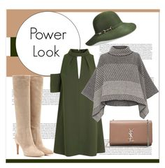 """""""Green"""" by irina-ny ❤ liked on Polyvore featuring Betmar, Yves Saint Laurent, Gianvito Rossi, Topshop and Piazza Sempione"""