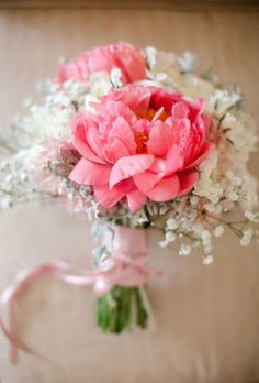 Pink peonies are the focus for this striking bouquet