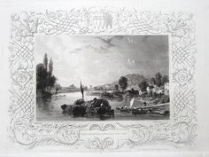 Hampton Court Old Bridge Antique Print 1864 London
