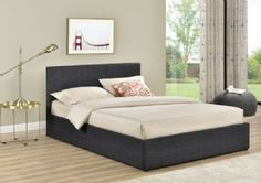 * NEW PRODUCT * BIRLEA BERLIN CHECK GREY FABRIC OTTOMAN BED  * FROM £200 * * FREE DELIVERY *