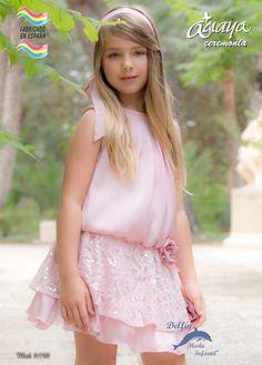 Vestido de ceremonia para niña ARTESANIA AMAYA 2016 con blonda modelo 97700
