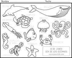 Ocean Animals in Spanish - coloring page | ESL - Class Ideas/Tools ...