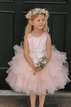 f3d9c6235d51 Blush Satin Bodice  Multi Layered Tulle Skirt Flower Girl Dress with Beaded  Satin Sash Bambine Che
