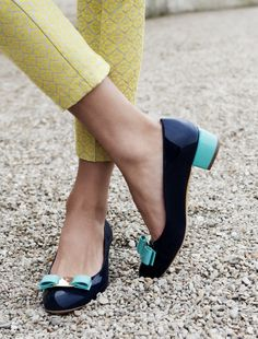 Celebrating the 35th anniversary of Ferragamo classic flats with custom colors (navy and turquoise), $550