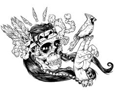 Chris Varricchione / Illustration #skull #bird #hands #ink #print
