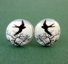 """Bird Earrings.  Resin Post Earrings.  Swallow Earrings. 1/2"""" or 13 mm round., $9.99"""