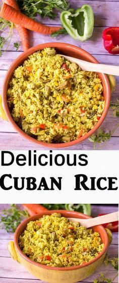 A popular Cuban rice dish, this flavorful one skillet recipe is packed with chicken and sausage and other amazing ingredients. The perfect dish your family would love. (Rice And Sausage Recipes) Cuban Recipes, New Recipes, Cooking Recipes, Family Recipes, Family Meals, Arabic Recipes, Cooking Ribs, Recipies, Amazing Food Recipes