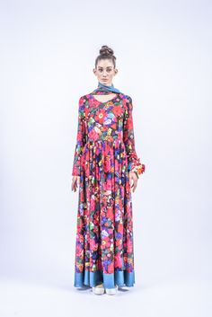 Romani Design, ss17, wanderers of the worlds, roma, gypsy, stripes, striped, floral, print, rose, roses, fashion, flower, flowers, outfit, spring, summer, dress, maxi, long sleeved, turquoise Gypsy, Stripes, Turquoise, Long Sleeve, Roses, Spring Summer, Fashion Design, Outfits, Flowers