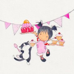 Happy Birthday Wishes Sister, Happy Birthday Kids, Pattern Illustration, Book Illustration, Illustrations, Cute Animal Drawings, Love Drawings, Happy Birthday Illustration, Birthday Card Drawing