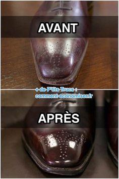 comment faire briller le cuir vernis sur les chaussures avant après