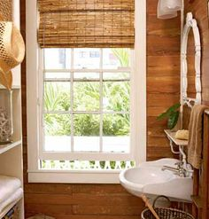Great Small Bathroom Idea in a Coastal Home: Unpainted, unfinished wood recalls bygone beach style―imagine a Key West cottage in the days of Hemingway. The look is authentic, natural, and beach-chic all at the same time. Beach House Bathroom, White Bathroom Decor, Wooden Bathroom, Bathroom Styling, Small Bathroom, Concrete Bathroom, Beach Bath, Bathroom Windows, Key West Cottage