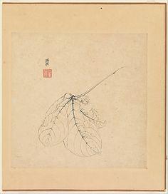 Chen Hongshou (Chinese, 1599–1652) Album of twelve paintings Ink on paper, 7 x 7 in. (17.8 x 17.8 cm)