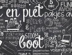 Sinterklaas papier - Krijtbord   4 meter Blackboard Art, Chalkboard, My Big Love, Sketch Notes, December Daily, Cool Diy Projects, Illustrations Posters, Doodles, Gift Wrapping
