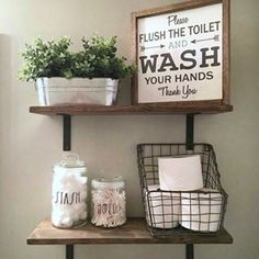 Anyone that knows me knows that I love collecting #raedunn. Added these two glass canisters to the kiddos bathroom today. #raedunn #mondaydecor #raedunnobsessed #raedunnlove #rustic #woodsigns #farmhouse #bathroomdecor