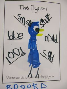 Joyful Learning In KC: Mo Willems  Meshed this with how to draw Pigeon and students described Pigeon.  We created a word bank on the board before students went back to their desks and either used the word bank, or created their own.  Great for 1st graders.