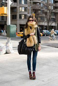 Fur scarf street style... it just works. @Mandy Bhear Repeller #leandramedine     Photo by Mr. Newton