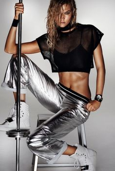 Karlie Kloss Poses In Metallic Activewear For Vogue China
