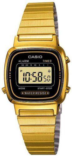 Orologio da donna Casio Inox rivestito Oro La670Wega-1Ef Colore cinturino: Oro, Materiale cinturino: Acciaio INOX rivestito, Chiusura: Clip, Materiale cassa: Plastica, Spessore cassa: 7,3 mm, Diametro cassa: 24,6 mm, Colore quadrante: Nero, Materiale lunetta: Plastica, Tipo di vetro: Plastica, Movimento: Al quarzo, Calendario: Giorno, data e mese, Classificazione di impermeabilità: 3 bar, Forma cassa: Ovale, Caratteristiche addizionali: Cronografo, Display: DigitaleCinturino: Acciaio INOX…