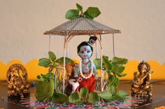 Lord Krishna's feet – DIY for Janmasthami Krishna Statue, Krishna Art, Krishna Images, Radhe Krishna, Diy Diwali Decorations, Festival Decorations, Fun Crafts To Do, Diy Home Crafts, Diy Golu Dolls