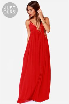 "Lulus Exclusive! Living on the edge comes naturally with the Deep End Dive Red Maxi Dress by your side! Adjustable spaghetti straps and elasticized back support a sultry bodice boasting modestly padded cups and plunging V-neckline decorated with a caged trim. Soft and light woven material with subtle texture flows from an empire waist to a floor length maxi skirt. Bodice is lined. Model is 5'7"" and is wearing a size X-small. 100% Rayon. Hand Wash Cold."