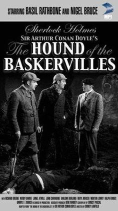 """The Hound Of The Baskervilles"" (dir. Sidney Lanfield, --- Sherlock Holmes (Basil Rathbone) unravels a mystery involving an evil dog that kills all descendants of the Baskervilles at night on the moor. Sherlock Holmes, Pulp Fiction, Hund Von Baskerville, Detective, Richard Greene, Horror Dvd, Horror Movies, Holmes Movie, John Carradine"