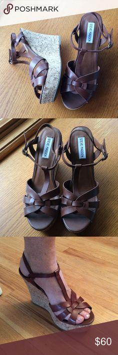 Steven Madden leather platform wedges never worn So cute. Never worn Steve Madden Shoes Wedges