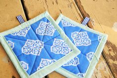 Fabric Hot Pads // Quilted Pot Holders // Blue by QuirkyQuiltress