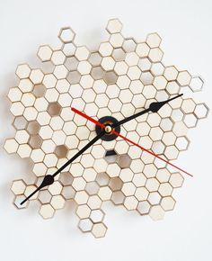 Honeycomb Clock Wall Clock Modern Clock Laser Cut by JSLaserCraft