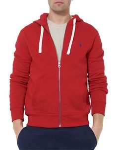 Polo Ralph Lauren Full-Zip Fleece Hoodie Men's Rl Red 2000 Large