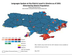 Languages of each Ukrainian district then distorted by population