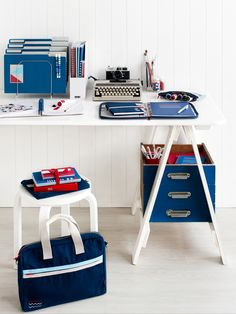 red white & blue office