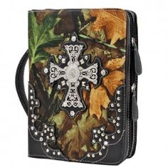 Camo w/Rhinestone Cross Bible Case