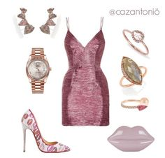 """""""Yes Way, Rosé"""" by cazantonio on Polyvore featuring Anissa Kermiche, Jacquie Aiche, Rolex, Alex Perry, Lulu Guinness, Anne Sisteron, Christian Louboutin, christianlouboutin, rolex and LULUGUINESS"""
