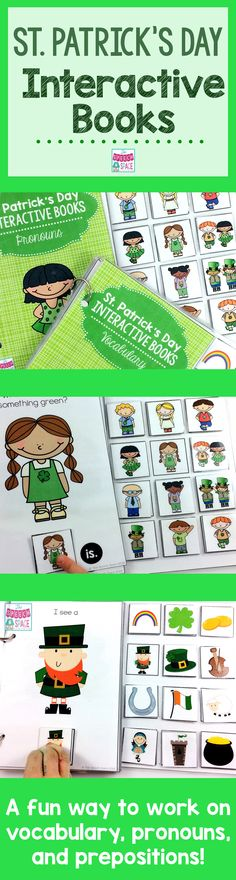 If you're looking for fun speech therapy materials, these are sure to be a hit!  St. Patrick's Day Interactive books are a fun way to work on vocabulary, pronouns, and prepositions!  Great for speech therapy sessions, minimally verbal students, and homeschooling.