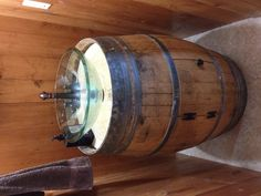 Wine barrel pedestal sink!  Need this in the bathroom!