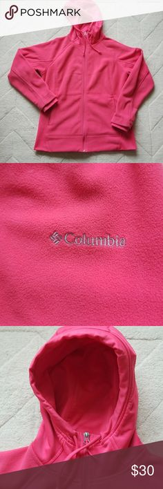 Cozy Columbia Zip-Up Fleece Hoodie Pink Columbia Zip-Up Fleece Hoodie perfect for the upcoming colder months. Has two pockets on the side/front that also zip. Hood is not fleece but more of a rayon material. Excellent used condition. No pilling. Columbia Tops Sweatshirts & Hoodies