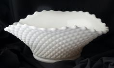 "Westmoreland Milk Glass 9 3/4"" Crimped Oval Fruit Bowl English Hobnail"