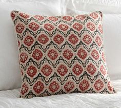 Red Tile Pillow Cover