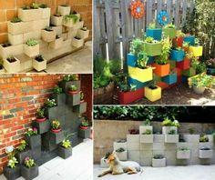 Colorful cinderblock garden