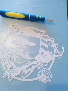 Cortar tu propia fuerza en el faro de la tormenta, Plantilla Papercutting - Uso Personal JPEG