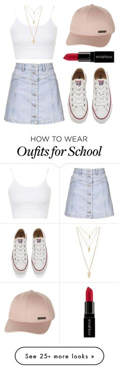 """""""I'm absent for today in school"""" by zzeelleestyles on Polyvore featuring Billabong, Topshop, Converse, Smashbox, Forever 21, women's clothing, women, female, woman and misses"""