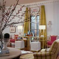 Eileen Kathryn Boyd Interiors - living rooms - chartreuse curtains, chartreuse drapes, chartreuse silk drapes, chartreuse silk curtains, whi...